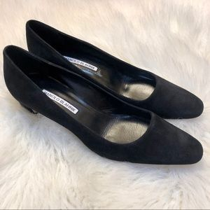Manolo Blahnik black suede pumps